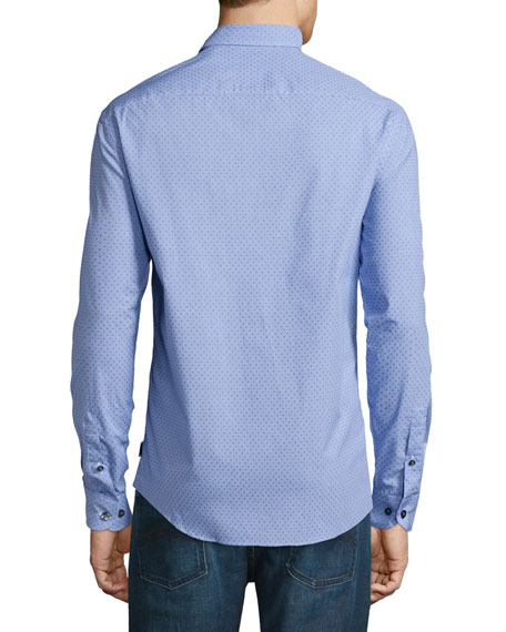 Long-Sleeve Gingham Dress Shirt W/Dots, Blue/White