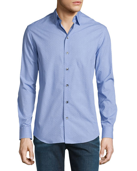 Long-Sleeve Gingham Dress Shirt W/Dots, Blue/White