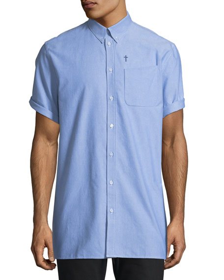 Chambray Short-Sleeve Button-Down Shirt with Pocket, Light Blue