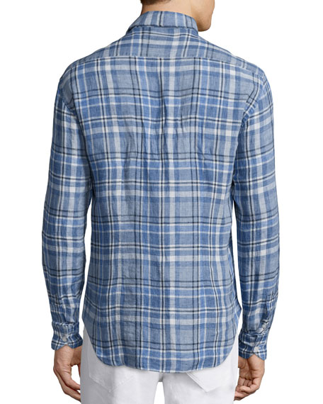 Culturata Plaid Linen Long-Sleeve Sport Shirt, Blue