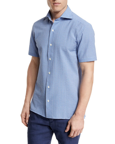 Seersucker Short-Sleeve Sport Shirt, Blue