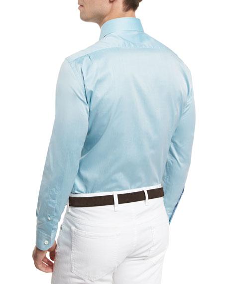 Summer Chambray Long-Sleeve Sport Shirt, Teal