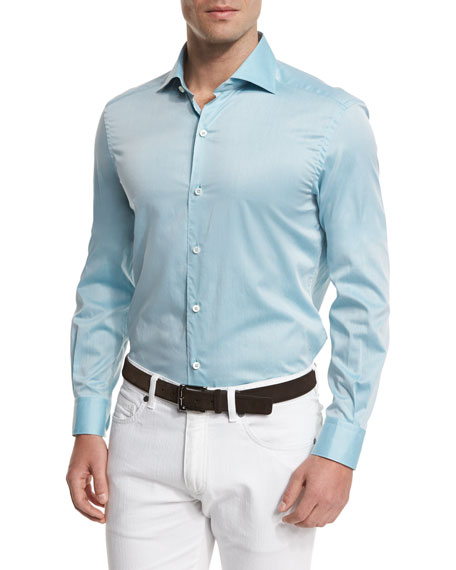 Ermenegildo Zegna Summer Chambray Long-Sleeve Sport Shirt, Teal