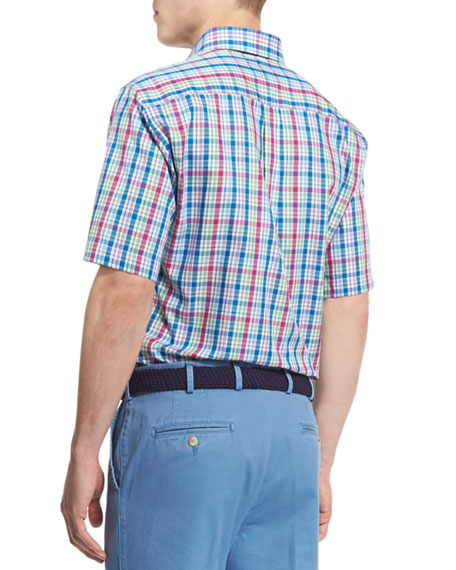 Plaid Short-Sleeve Woven Shirt, Blue