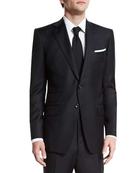 TOM FORD O'Connor Base Solid Two-Piece 130s Wool Master Twill Suit, Black