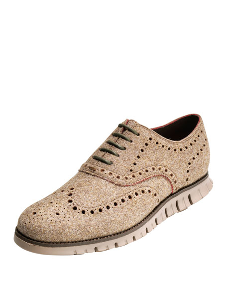 Cole Haan Zerogrand Wing-Tip Wool Oxford Shoe, Cobblestone