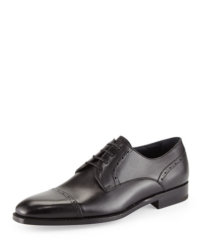 Leather Cap-Toe Derby Shoe