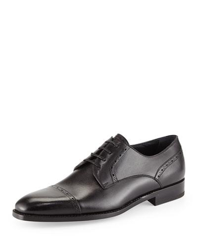 Leather Cap-Toe Derby Shoe