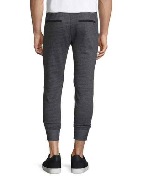 Textured Knit Drawstring Jogger Pants, Black