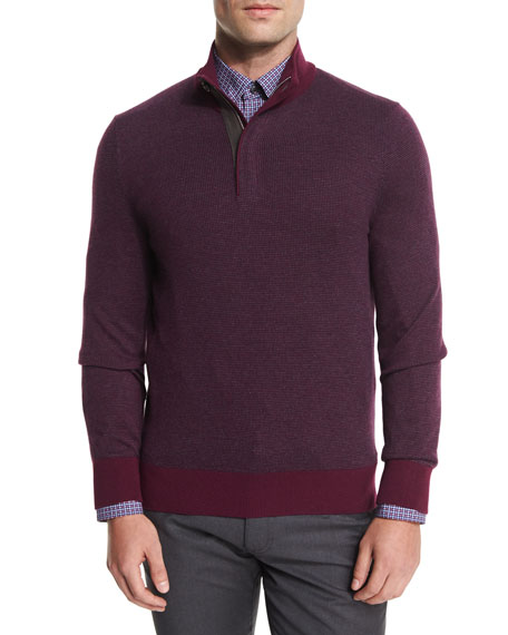 Birdseye Cashmere-Blend Quarter-Zip Sweater, Purple