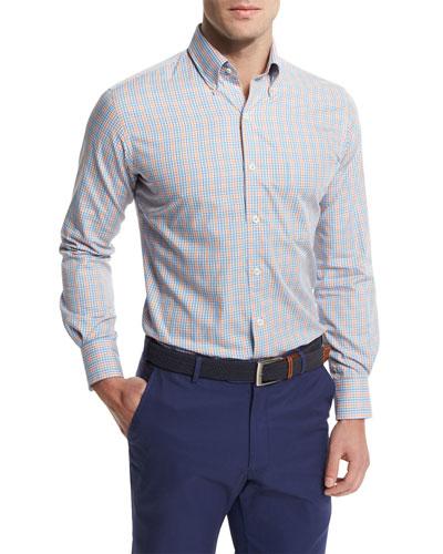 Peter millar windowpane long sleeve sport shirt clownfish for Peter millar golf shirts