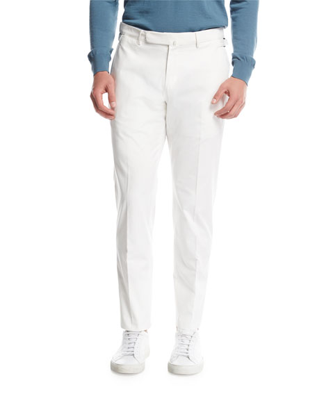 Ermenegildo Zegna Flat-Front Cotton Pants, White