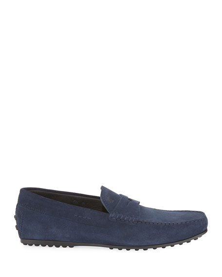City Gommini Suede Penny Loafer, Blue
