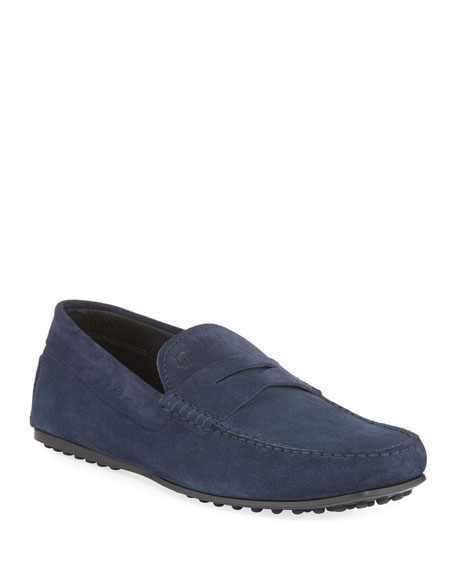 Tod's City Gommini Suede Penny Loafer, Blue