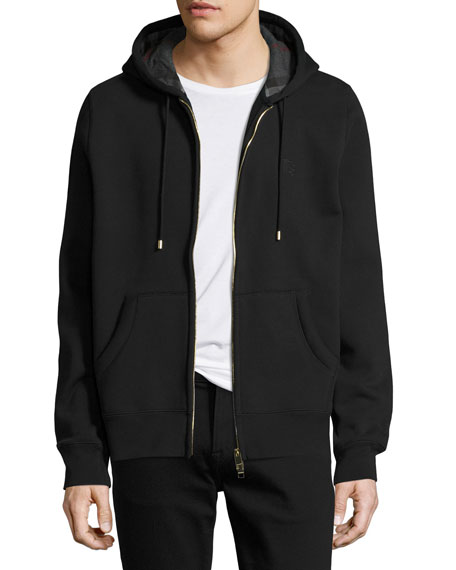 Burberry Claredon Jersey Hoodie w/Check Lining, Black