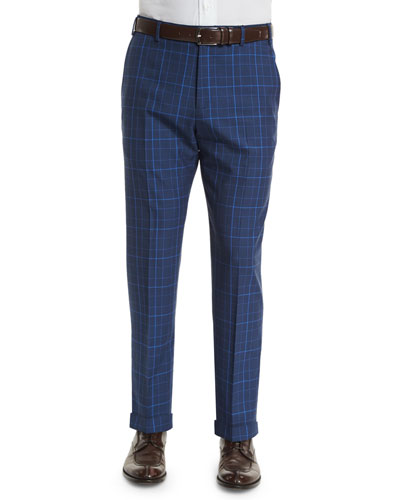 Parker Flat-Front Windowpane Check Trousers, Blue