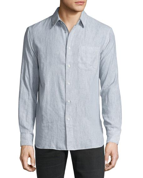 Rag & Bone Classic-Fit Pocket Shirt, Gray/White
