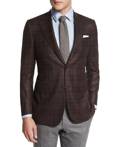 Canali Plaid Two-Button Jacket, Burgundy