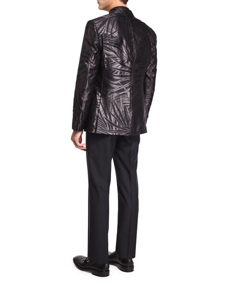 Palm-Print Jacquard Silk Evening Jacket, Black