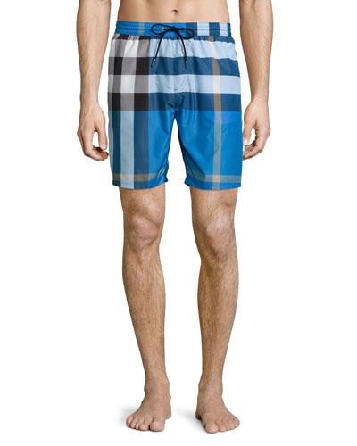 Mid-Length Check Swim Trunks, Cerulean Blue
