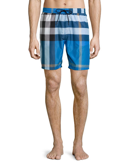 Mid-Length Check Swim Trunks, Cerulean Blue