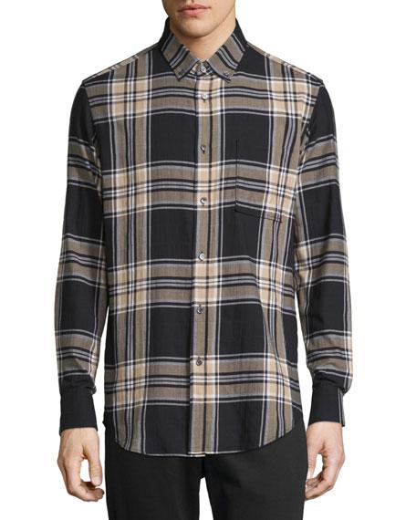 Public School Plaid Long-Sleeve Flannel Sport Shirt
