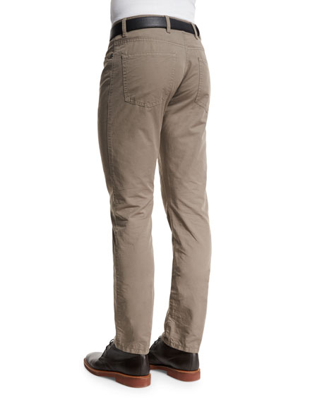 Five-Pocket Cotton-Linen Pants, Tan