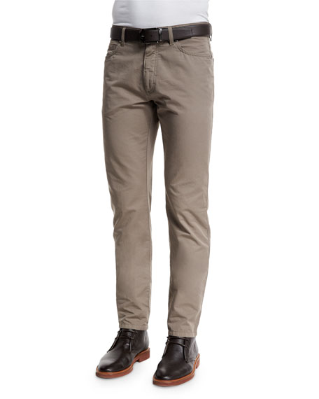 Ermenegildo Zegna Five-Pocket Cotton-Linen Pants, Tan