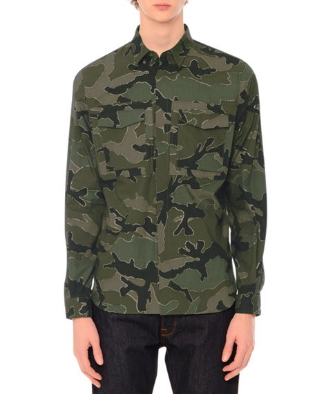 Valentino Camo-Print Long-Sleeve Military Shirt, Green Multi
