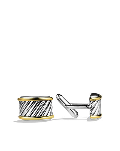 Cable Cigar Band Cuff Links with Gold