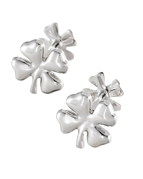 Silver Clover Cuff Links