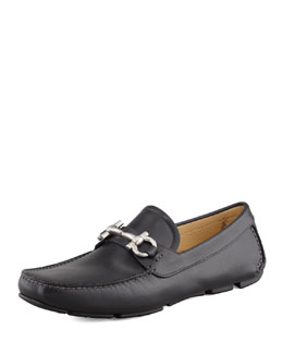 Salvatore Ferragamo Parigi Leather Gancini Driver, Black