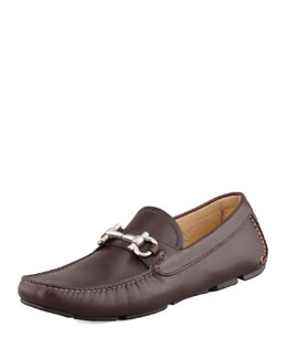 Salvatore Ferragamo Parigi Leather Gancini Driver, Brown