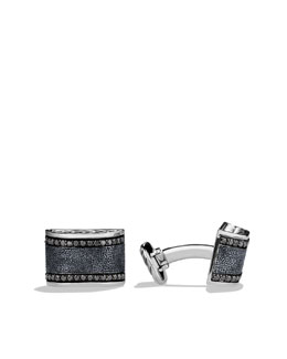 David Yurman Chevron Cuff Links with Black Diamonds