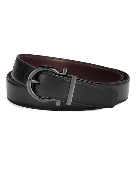 Reversible Gancini-Buckle Belt, Black/Dark Brown