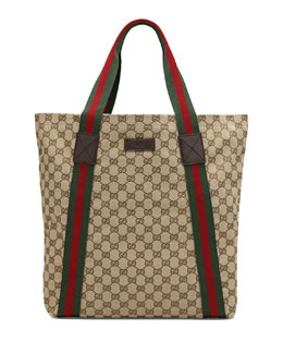Gucci Canvas Tote, Beige/Ebony
