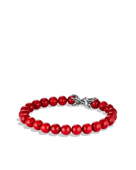 8mm Red Coral Spiritual Bead Bracelet