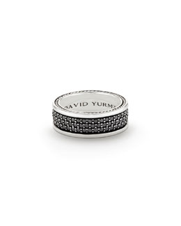 David Yurman Streamline® Three-Row Band Ring with Black Diamonds