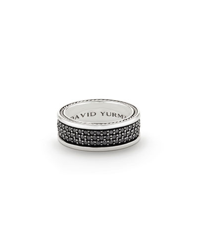 Streamline Three-Row Band Ring with Black Diamonds