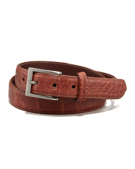 Matte Alligator Belt, Gold