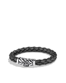 David Yurman 8mm Gray Rubber Weave Bracelet