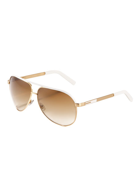 Gucci Aviator Sunglasses, Gold/White
