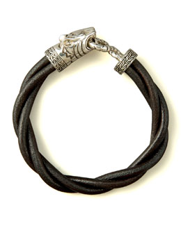 John Hardy Macan Twisted Leather Bracelet