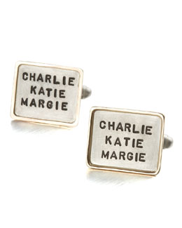 Heather Moore Personalized Square Cuff Links, 3 Lines