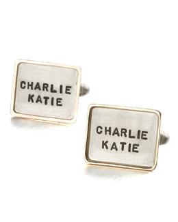 Heather Moore Personalized Square Cuff Links, 2 Lines