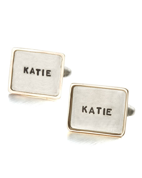 Personalized Square Cuff Links, 1 Line