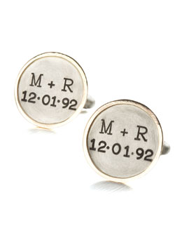 Heather Moore Personalized Round Cuff Links, 2 Lines, Gold/Silver