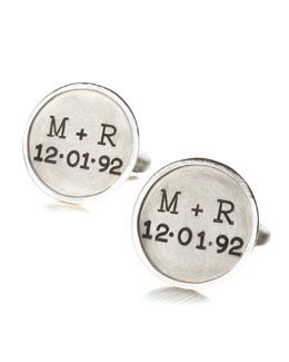 Heather Moore Personalized Round Cuff Links, 2 Lines, Silver
