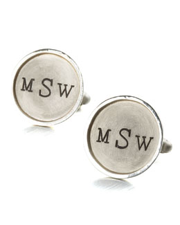 Heather Moore Monogramed Round Cuff Links, 1 Line, Silver