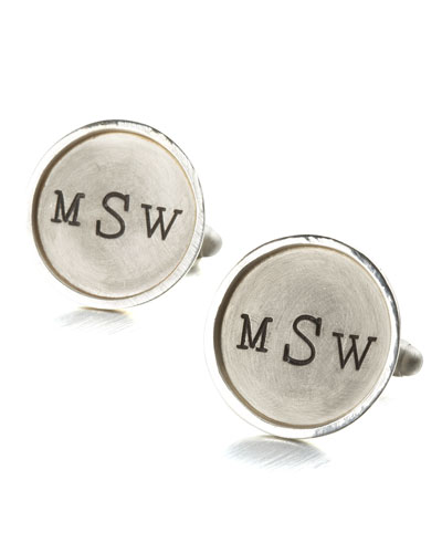 Monogramed Round Cuff Links, 1 Line, Silver
